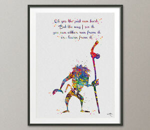 Rafiki-Cita-The-Lion-King-Mufasa-y-Simba-Acuarela-Impresion-De-Arte-Pared