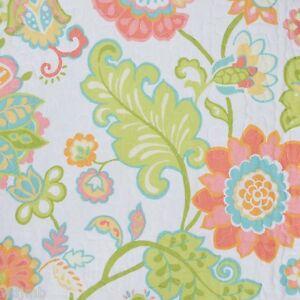 Cynthia rowley aqua coral orange green floral full queen 3pc quilt set