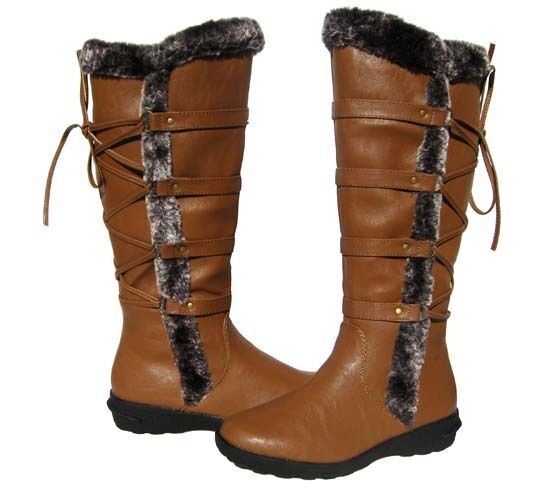 New Women's BOOTS Knee High Tan Brown Winter Fur Lined Snow shoe Ladies size 8.5