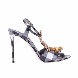 b546366f35836 Image is loading DOLCE-amp-GABBANA-Checked-Patent-Leather-Sandals-Shoes-
