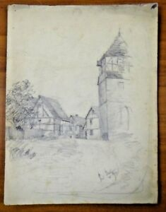 "Original 1893 Town & Clocktower Pencil Sketch By Ferdinand Balger 9.25"" X 12.25"" Moderate Price Art"