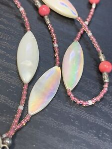 Vtg-Pretty-Pink-White-Mother-Of-Pearl-Pendant-X-Ling-54-Necklace-Seed-Beads
