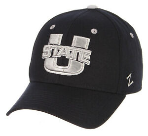 UTAH-STATE-ST-AGGIES-NCAA-NAVY-BLUE-FITTED-SIZED-ZEPHYR-DH-STYLE-CAP-HAT-NEW