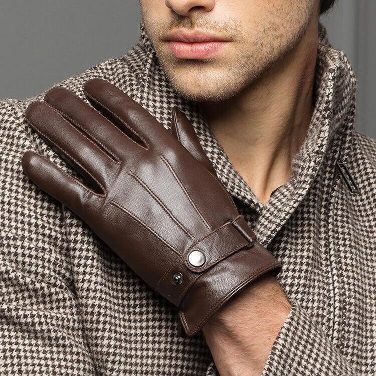 Men Genuine leather Gloves Sheepskin Driving Stylish Outdoor Winter Warm Gift