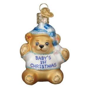 Old World Christmas BABY'S 1st TEDDY BEAR (Blue) (12065)N Glass Ornament w/Box