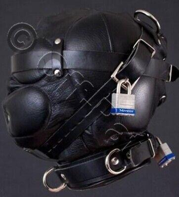 Efficiente Guarnizione In Pelle 100% Deprivazione Sensoriale Bondage Cappuccio/maschera- Tecnologie Sofisticate