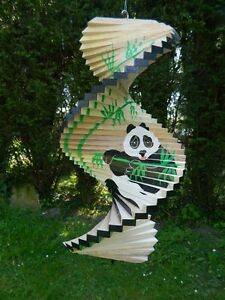 Image Is Loading Wind Spinner Wooden Spiral Mobile Garden Ornament Panda
