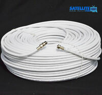 20m White RG6 Satellite Freesat Digital TV Aerial Sky Coax Cable + Fitted F plug