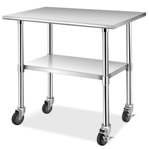 36-034-x-24-034-NSF-Stainless-Steel-Commercial-Kitchen-Prep-amp-Work-Table-w-4-Casters
