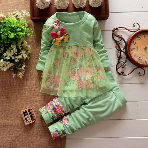 New Toddler Kids Baby Girl Floral T Shirt Tops Dresses Pants Outfits Set Clothes