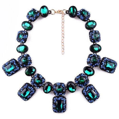 Women Fashion Crystal Choker Chunky Statement Bib Pendant Chain Collar Necklace