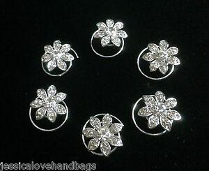 UK-6-Diamante-Crystal-Silver-Bridal-Tiara-Wedding-Prom-Hair-Pin-Twister-SL1176