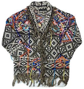 Zara-Woman-Colorful-Aztec-Western-Jacket-Sz-5-XL-READ-Tassles-amp-Fringe