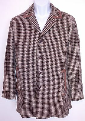 Lakeland Mens Coat Vintage Houndstooth Wool Leather Buttons Made In USA Size 38