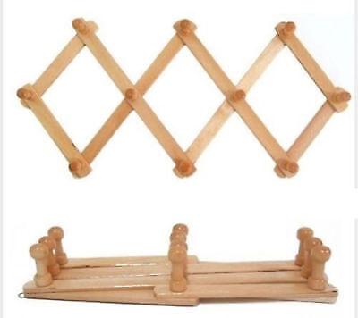 Wooden Wall Hanger Expandable 10 Peg Coat Rack Hat Closet Hook Expanding Fold