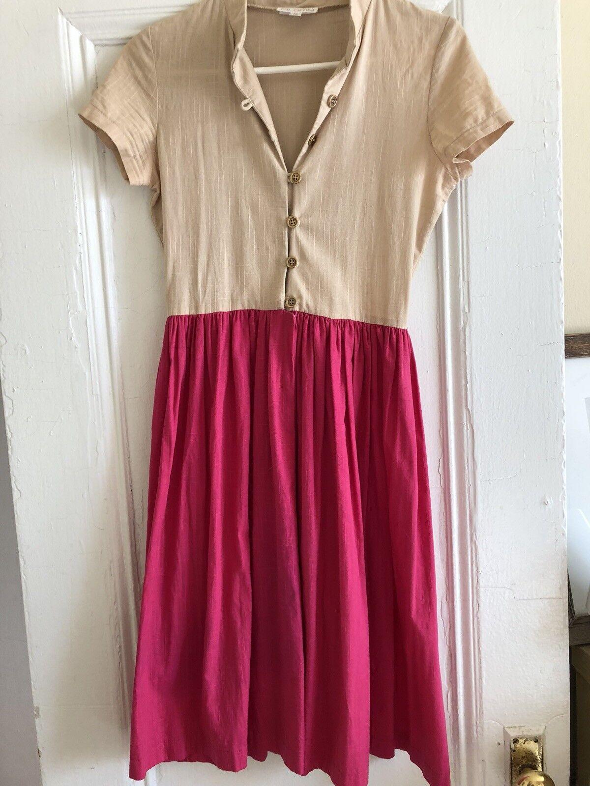 Vintage NYC Designer Pilgrim Cotton Dress With Metal Buttons