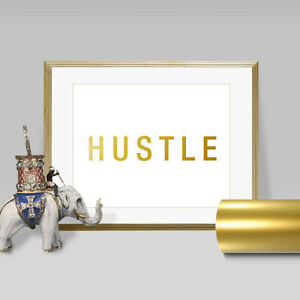 Gold Foil Wall Art hustle faux gold foil wall art print - layered real gold leaf