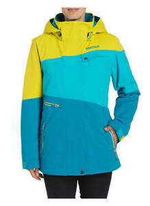 Details about Marmot Moonshot Womens Insulated Snowboard Snow Ski Jacket Aqua Yellow XS