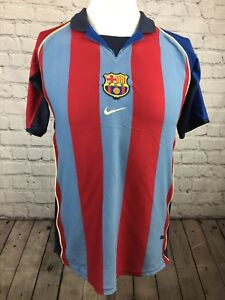 buy online 0aba4 14ddf Details about BARCELONA FOOTBALL SHIRT CAMISETA 2001-2002 HOME KIT ORIGINAL  NIKE. XL CHILDS