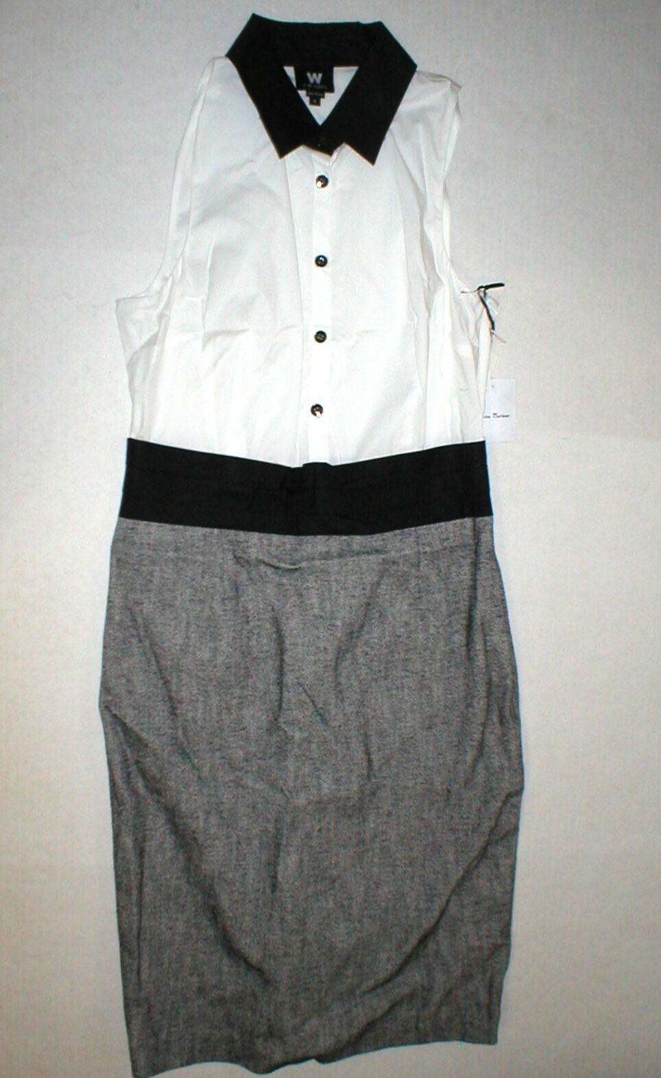 damen NWT  Worth New York 8 Dress schwarz Weiß Gunmetal Farbeblock Office