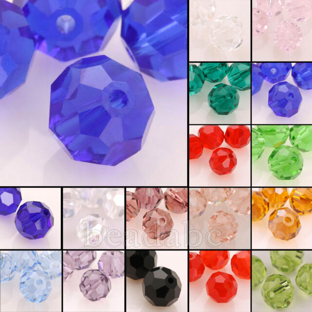 5000 100pcs Round 3mm/4mm/6mm/8mm Austria Crystal Beads Loose Jewelry Charm Pick