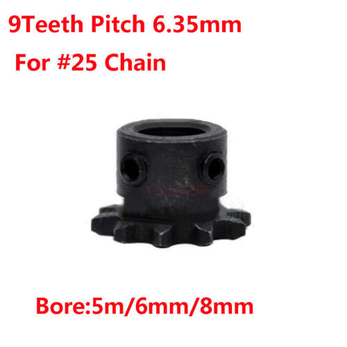 """1Pc Drive Sprocket  04C 9Teeth Pitch 1//4/"""" 6.35mm Bore 5mm//6mm//8mm For #25 Chain"""