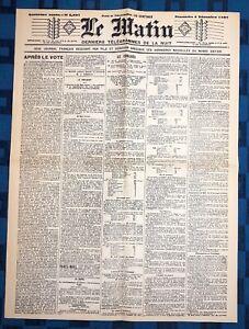 La-Une-Du-Journal-Le-Matin-4-Decembre-1887-Election-De-Sadi-Carnot