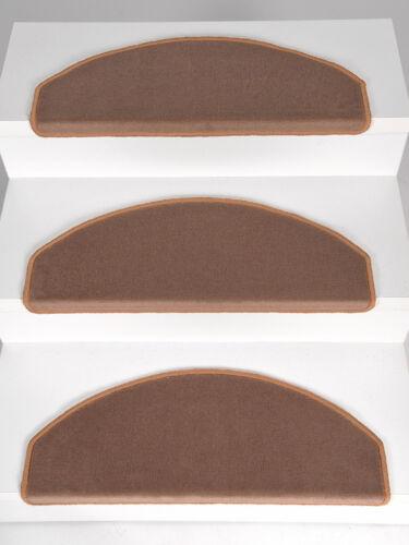 15-er Set Stufenmatten Treppenmatten Velours ROXANNE Dunkel-Beige 65x24x4 cm