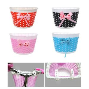 1pc Bicycle Basket Children Bike Plastic Knitted Bow Knot Front Handmade  dmBYW