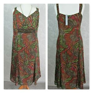 Per-Una-Ladies-size-20-Beaded-Sheer-Lined-Summer-Dress-Flared-Forest-Colours-3