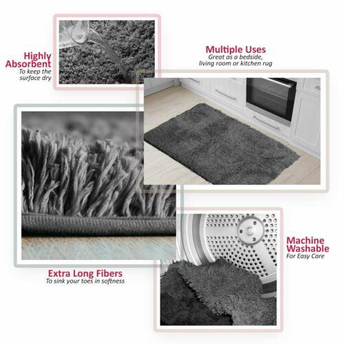 Fluffy Rugs Anti-Skid Shaggy Area Rug Super Soft Cozy Bathroom Floor Mat Carpet