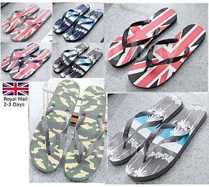NUOVO Uomini Union Jack causale leggero Sandalo Pantofole Con Infradito Spiaggia Estate