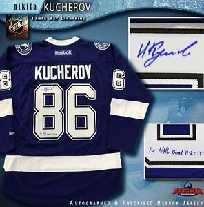 Nikita Kucherov signed Tampa Bay Lightning Blue Reebok Jersey w  1st ... 405f01b67