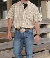Wrangler Men's Yellow Blue Plaid Wrinkle Resist Short Sleeve Shirt Mg4032m