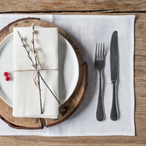 Tischsets Farbe Weiss 4-er Pack Leinen Platzsets 50 x 35 cm