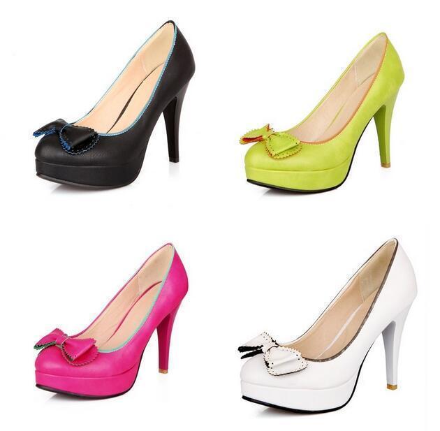 Sweet Women's Stilettos High Heel Bowknot Platform Pumps Plus Size Party shoes