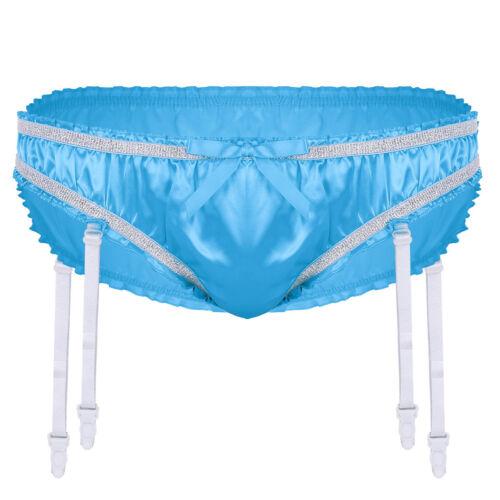 Mens Satin Ruffled Bulge Pouch Underwear Sissy Briefs Garters Panties Thongs
