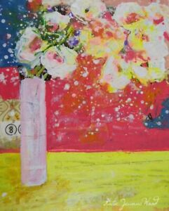 Original Floral Art - Acrylic Pink & Yellow Flower Painting Katie Jeanne Wood