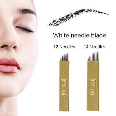 5Pcs 12/14 Pins PCD Permanent Eyebrow Makeup Bevel Needles Blade for Tatoo Pen