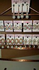 LOTTO di 12 paia di progettazione Misto Diamante Luccicante Orecchini Pendenti-Nuovo All'ingrosso C