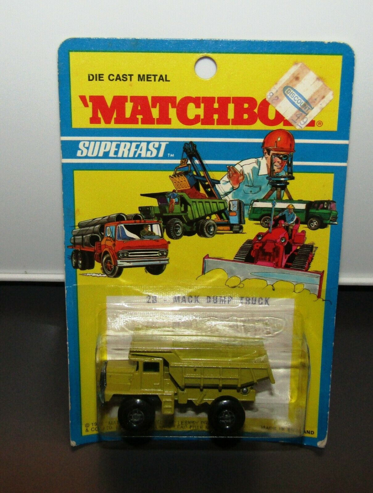 Matchbox Superfast No 28 Mack Dump Truck Gelb Pea Grün 1971 Blister