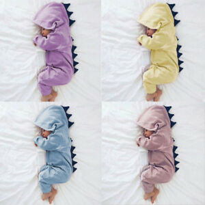 732ca1f16 UK Newborn Infant Baby Boy Girl Dinosaur Hooded Romper Jumpsuit ...