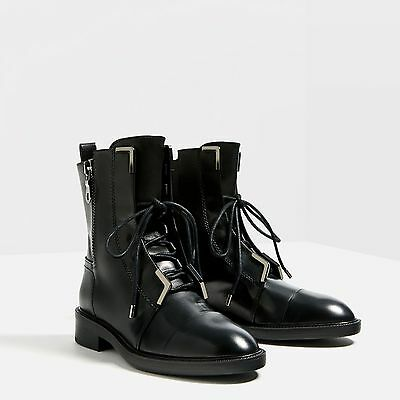 ZARA Black Leather Ankle Boots Sz 7/37 $139