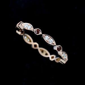 Octagon-Marquise-Plain-Milgrain-Garnets-Diamonds-Gemstone-Rose-Gold-Wedding-Band