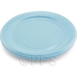 Image is loading 18cm-Light-Blue-Round-Disposable-Plastic-Plate-Party-  sc 1 st  eBay : cheap plastic plates and cups - Pezcame.Com
