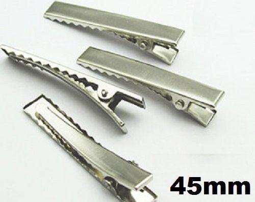10 20 30 40 50 x Silver Crocodile Alligator Clips Blank Hair Slides 4.5cm 45mm