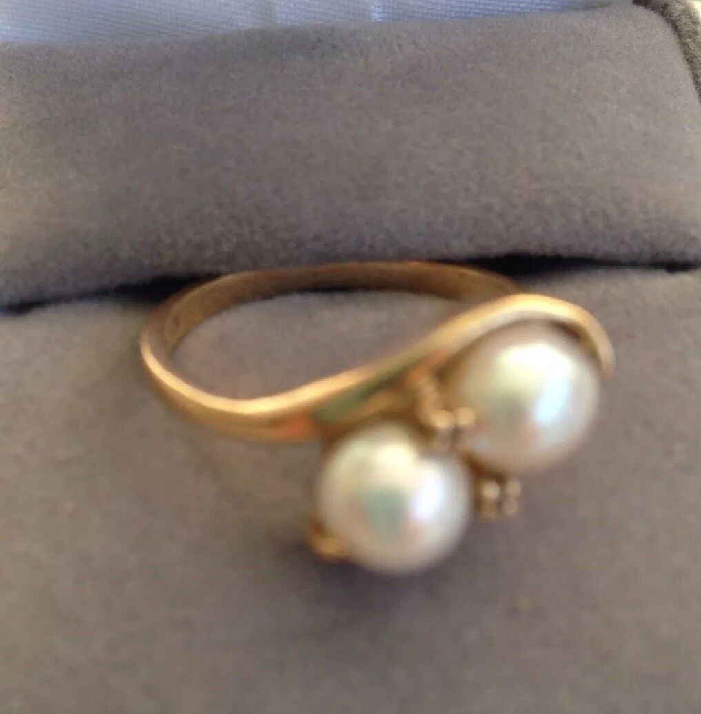 10K Cultured Pearl Bypass Ring - Diamond Accents Size 6