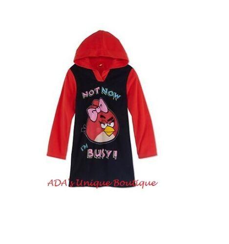 Angry Birds Pajama Red Black Hooded Sleep Top Size 10 Hoodie PJ Sleep Shirt NWT