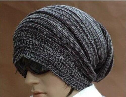 Chic Korean Women Men Baggy Crochet Knit Ski Beanie Wool Hip-hop Cuff Hat Cap