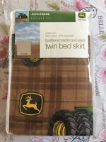 John Deere Bedding Traditional Tractor and Plaid Collection Bed Skirt Twin Home Furnishings